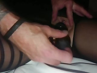 vibrator on pussy makes tied wife close to orgasm