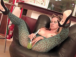 Blonde Milf cleans fucks clit with big toilet brush and vibe