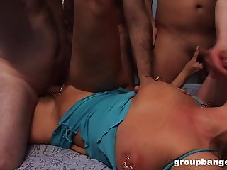 Extreme piercing in the pussy and saggy tits mature gangbang