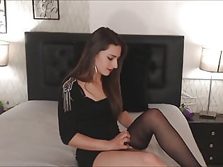 brunette with long hair lick her nylon feet and fuck ass.