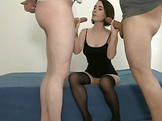 Petite Brunette First Double Penetration with Creampie