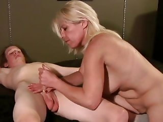 Blond stepmom Milf seduces her son