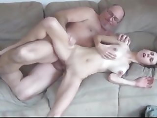 Skinny College Bitch with Big Tits Hot Sex with Old Man