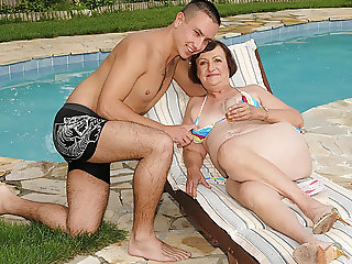 Bikini Granny Enjoys Sex With Her Younger Lover