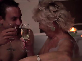 Romantic evening in the bathroom. Grandma Tamara