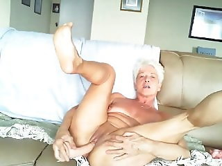 Granny with toys on webcam