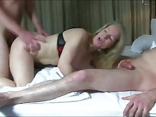 Naughty Mature MILF Loves Double Penetration with Two Boys