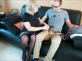Young  Skinny Nerd In Glasses Have No Ideas How To Fuck MILF