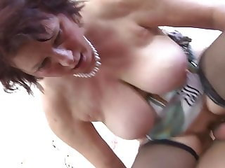 Warm visit for son from busty natural mom