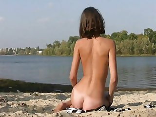 Skinny Alinea Nude Down By the River