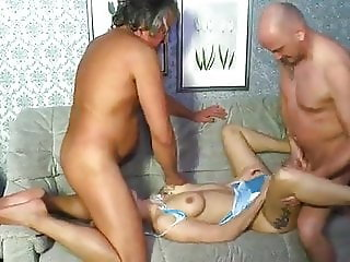 Amateur sluts and older guys fucking in threesomes