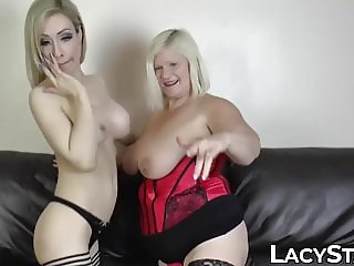 Chubby GILF fucked with huge dildo by busty dyke babe