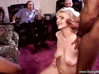 Trashy Blonde Swinger Threesome