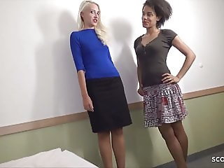 Client Fuck Two Skinny Latina and Blonde Street Hooker FFM