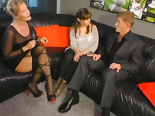 experienced  sexy milf teaches young couple how to fuck