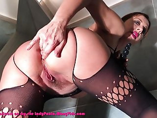 Classy mature in pantyhose fingering pussy and ass